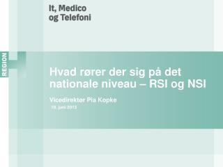 Hvad rører der sig på det nationale niveau – RSI og NSI Vicedirektør Pia Kopke 10. juni 2013