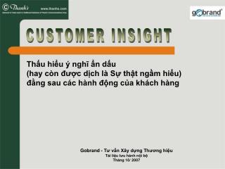 Gobrand - Tư vấn Xây dựng Thương hiệu Tài liệu lưu hành nội bộ Tháng 10/ 2007