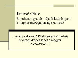 Jancsó Ottó: Bioethanol gyártás - újabb kitörési pont a magyar mezőgazdaság számára?