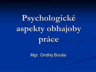 Psychologické aspekty obhajoby práce
