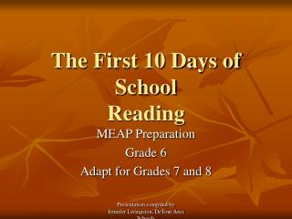 The First 10 Days of School Reading