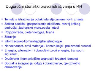 Dugoročni strateški pravci istraživanja u RH