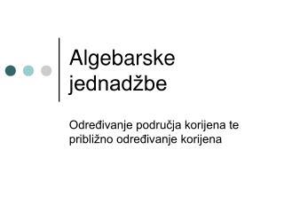 Algebarske jednadžbe