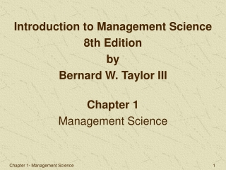Chapter 1- Management Science