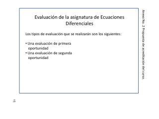 Evaluación de la asignatura de Ecuaciones Diferenciales