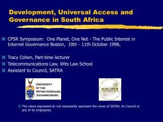 Development, Universal Access and Governance in South Africa