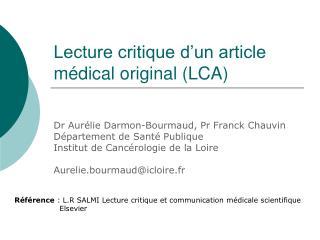 Lecture critique d un article m dical original LCA