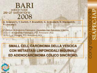 G. Crisman(1), T. Curti(2), F. Brunelli(2), G. Di Nicola(3), S. Discepoli(2),  P. Leocata(1)