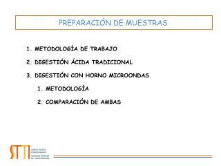 METODOLOGÍA DE TRABAJO DIGESTIÓN ÁCIDA TRADICIONAL DIGESTIÓN CON HORNO MICROONDAS METODOLOGÍA