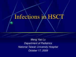 Infections in HSCT