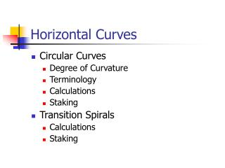Horizontal Curves