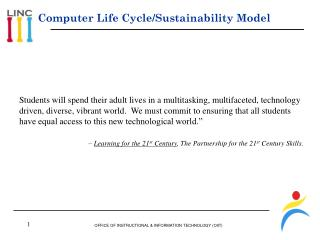 Computer Life Cycle/Sustainability Model