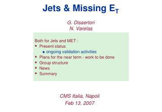 Jets & Missing E T