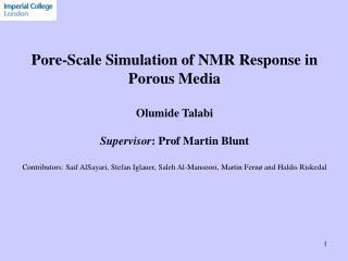 Pore-Scale Simulation of NMR Response in Porous Media Olumide Talabi