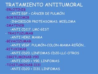 TRATAMIENTO ANTITUMORAL ERLOTINIB ANTI EGF – CÁNCER DE PULMÓN BORTEZOMIB