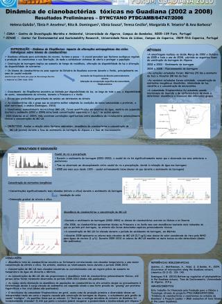 Dinâmica de cianobactérias  tóxicas no Guadiana (2002 a 2008)