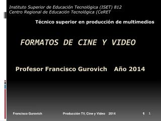 FORMATOS DE CINE Y VIDEO Profesor Francisco Gurovich	 Año 2014