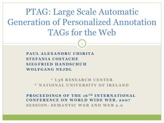 PTAG: Large Scale Automatic Generation of Personalized Annotation TAGs for the Web