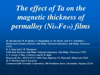 The effect of Ta on the magnetic thickness of permalloy (Ni 81 Fe 19 ) films