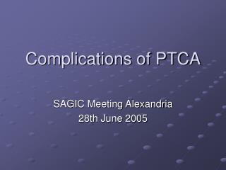 Complications of PTCA