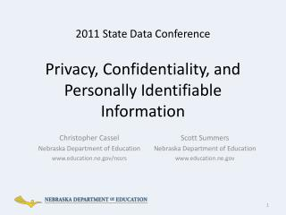 Privacy, Confidentiality, and Personally Identifiable Information