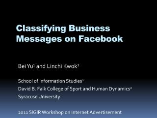 Classifying Business Messages on Facebook