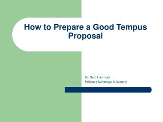 How to Prepare a Good Tempus Proposal