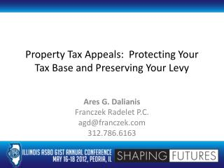 Property Tax Appeals:  Protecting Your Tax Base and Preserving Your Levy