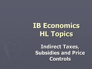 IB Economics  HL Topics