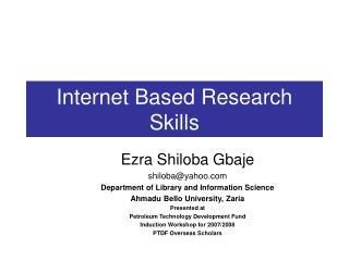 Internet Based Research Skills