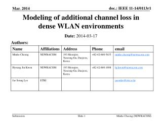 Modeling of additional channel loss in dense WLAN environments