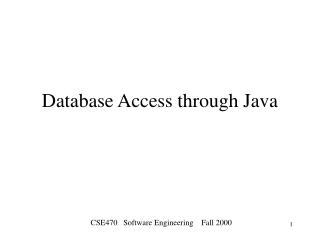 Database Access through Java