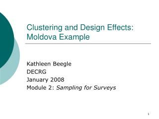 Clustering and Design Effects: Moldova Example