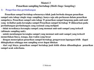 Materi 3 Penarikan sampling bertahap ( Multi-Stage Sampling )