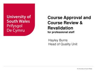 Course Approval and Course Review & Revalidation for professional staff