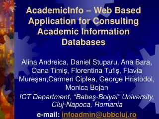 AcademicInfo – Web Based Application for Consulting Academic Information Databases
