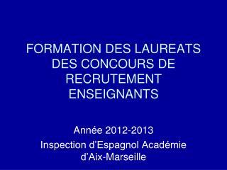 FORMATION DES LAUREATS DES CONCOURS DE RECRUTEMENT ENSEIGNANTS