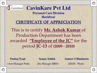 CavinKare Pvt Ltd Personal Care Division Haridwar Certificate of Appreciation