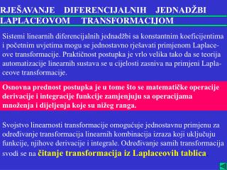 RJEŠAVANJE    DIFERENCIJALNIH    JEDNADŽBI LAPLACEOVOM     TRANSFORMACIJOM