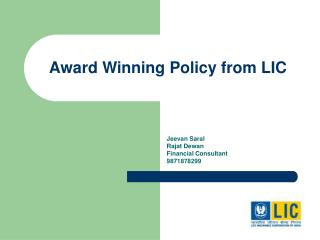 Award Winning Policy from LIC