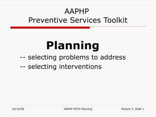 AAPHP  Preventive Services Toolkit
