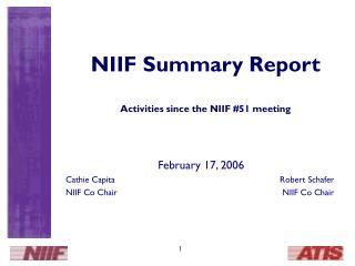 NIIF Summary Report Activities since the NIIF #51 meeting