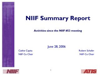 NIIF Summary Report Activities since the NIIF #53 meeting