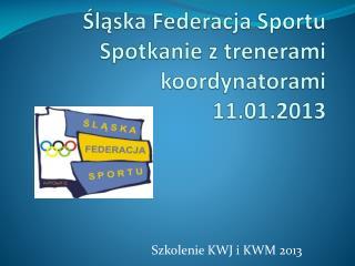 Śląska Federacja Sportu Spotkanie z trenerami koordynatorami 11.01.2013