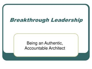 Breakthrough Leadership