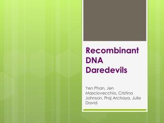Recombinant DNA Daredevils