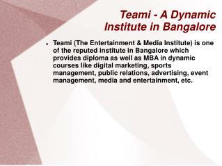 Teami - A Dynamic Institute in Bangalore