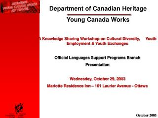 Department of Canadian Heritage Young Canada Works