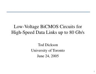 Low-Voltage BiCMOS Circuits for High-Speed Data Links up to 80 Gb/s