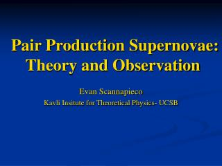 Pair Production Supernovae: Theory and Observation
